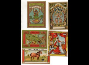 DP328/ 17 x alte Aufkleber Labels Chija Limited Bombay Indien Lithos