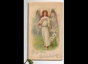 Y6745/ Glückwunsch zur Konfirmation Engel LItho Prägdruck 8 Seiten ca.1910