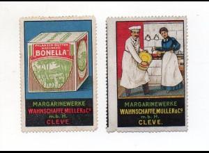 Y8791/ 2 x Reklamemarke Margarinewerke Wahnschaffe, Müller & Co., Cleve ca.1912
