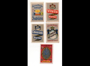Y7208/ 5 x Reklamemarke van den Bergh Margarine, Butter , Cleve ca.1912