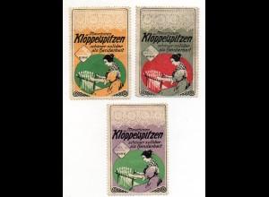 Y7194/ 3 x Reklamemarke Maschinen-Klöppelspitzen Elbe ca.1912