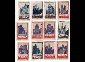 Y7253/ 12 x Reklamemarke Nürnberg Fremdenverkehrsverein ca.1920