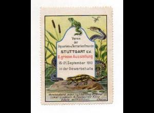 Y7259/ Reklamemarke Stuttgart Ausstellung Auarien- u. Terrarienfreunde 1913