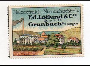 Y7260/ Reklamemarke Grunbach b. Stuttgart Ed. Löflund & Co, Litho ca.1912