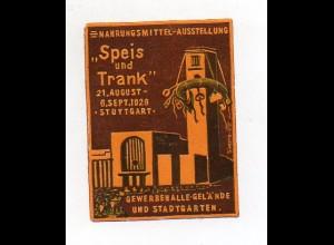Y7267/ Reklamemarke Stuttgart Nahrungsmittel-Ausstellung 1926 Speis und Trank