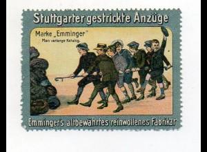 Y7321/ Reklamemarke Stuttgart Emminger-Anzüge Litho ca.1910