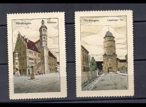 Y7381/ 2 x Reklamemarke Nürdlingen Steinzeichnung Litho ca.1912