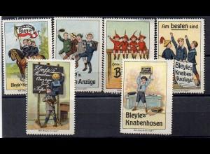 Y7379/ 8 x Reklamemarke Bleyle`s Knabenhosenn, Anzüge, Kinder Litho ca.1910