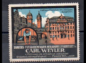 Y7377/ Reklamemarke Sanita Fußbodenfabrik. Heilbronn - Frankfurt Rathaus