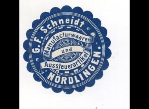 Y7750/ Reklamemarke Nördlingen G.F. Scheidt Manufacturwaren ca.1910