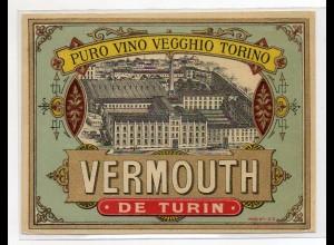 Y7615/ Altes Weinetikette Vermouth de Turin Vino Vegghio Torino Litho