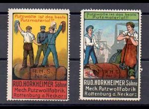 Y7680/ 2 x Reklamemarke Rud. Horkheimer , Rottenburg Putzmaterial ca.1912