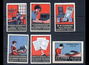 Y7699/ 6 x Reklamemarke A.A. Zimmer, Heilbronn Schreibmaschine ca.1912