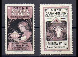 Y7674/ 2 x Reklamemarke Gustav Pahl, Aalen Nudeln, Caremellen, ca.1910