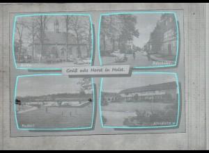 Neg2567/ Horst i. Holst. Freibad, Bahnhofstr., Kirche altes Negativ 1950/60