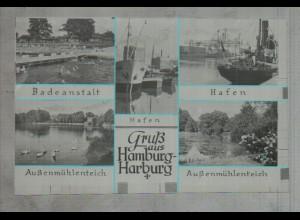 Neg3244/ Hamburg Harburg Hafen Badeanstalt altes Negativ 50/60er Jahre