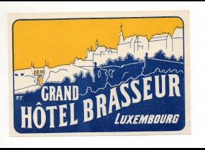 U1711/ Alter Kofferaufkleber Luxemburg Grand Hotel Brasseur