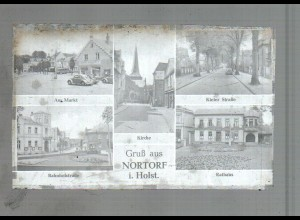 Neg4137/ Nortorf Kielerstr. Bahnhofsttr. altes Negativ 50er Jahre
