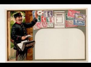 DP351/ Briefmarken Briefträfer Postbote Litho Prägedruck AK Frankreich ca.1910