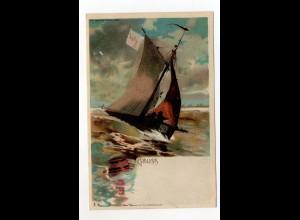 U2267/ Halt gegen Licht Luna Nr. 83 Litho AK ca.1900 Segelschiff