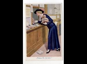 U2265/ Post Postschalter Frau gibt Pakete auf Künstler AK ca.1914