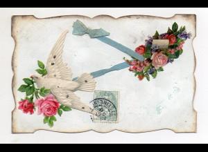 Y9297/ Oblate aufgeklebt Taube Rosen AK ca.1910