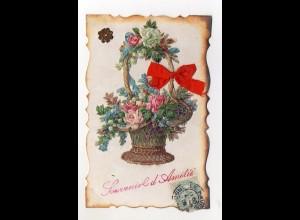 Y9300/ Oblate aufgeklebt Blumen AK 1908