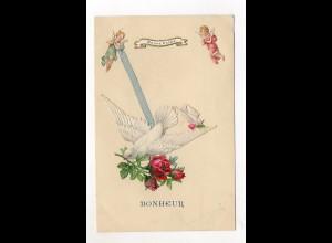 Y9301/ Oblate aufgeklebt Tauben Rosen AK 1905
