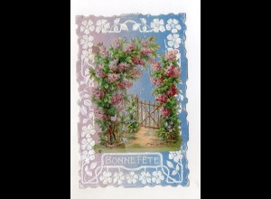 Y9302/ Oblate aufgeklebt Blumen ca.1910