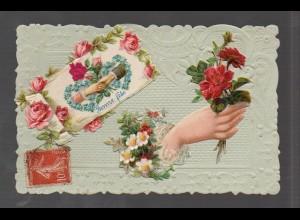 Y9305/ Oblate aufgeklebt Hand, Blumen, Rosen ca.1905