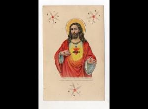 Y9322/ Glückwunschkarte Oblate aufgeklebt Jesus ca.1905
