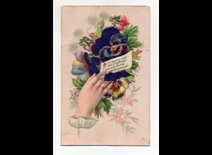 Y9317/ Oblate aufgeklbt schöne Glückwunschkarte ca.1900