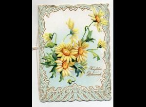 Y9318/ Schöne Glückwunschkarte Klappkarte Litho Prägedruck Blumen ca.1900