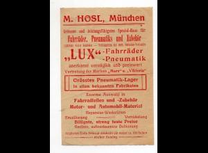 Y9490/ Quittung M. Hosl, München LUX Fahrrad Pneumatik ca.1910