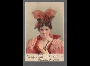 Y9738/ JUnge Frau mit Hute schöne Litho Glimmer AK ca.1900
