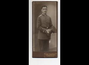Y9776/ CDV Foto Soldat mit Säbel Atelier C. Sauerzopf, Hohensalza ca.1910