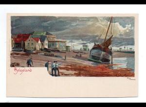 U3106/ Helgoland schöne Litho Künstler AK Kley ca.1900