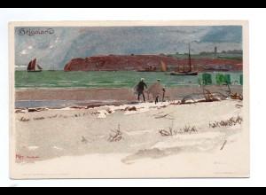 U3107/ Helgoland schöne Litho Künstler AK Kley ca.1900