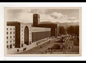 XX00691/ Stuttgart Hauptbahnhof Straßenbahn Foto AK ca.1935