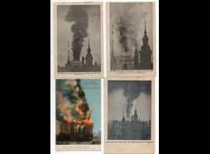 Y9881/ 4 x AK Hamburg Brand der Michaeliskirche 1906 Feuer