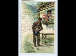 A5452/ Briefträger Postbote Künstler Litho AK E. Döcker 1901