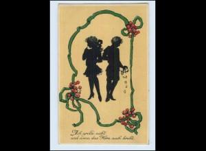 A4499/ Kinder schöne Litho Künstler AK Schattenbild ca.1915
