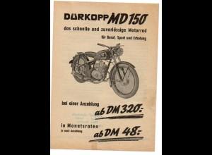 C869/ Dürkopp MD 150 Motorrad Werbeblatt 1953