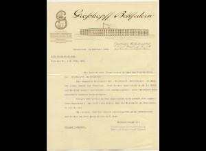 c012/Osnabrück Großkopff Bettfedern Brief Rechnung 1924