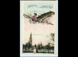 P2T40/ Souvenir d`Anvers Frau im Flugzeug Fotomontage AK 1915