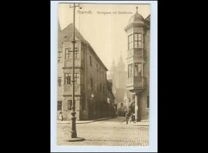 P3A05/ Bayreuth Brautgasse mit Stadtkirche AK