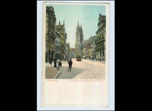 P3A04/ Nürnberg Lorenzkirche mit Königstraße ca.1900 AK