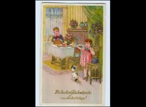P3C49/ Geburtstag Kinder Telefon Litho Glanz Golddr. AK 1935