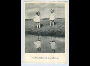 P3C36/ Geburtstag kleine Mädchen am Fluß ca.1950 AK