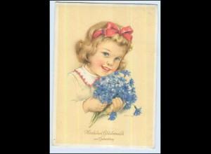P3C39/ Geburtstag Mädchen mit Blumen AK 1951 sign: Klinge